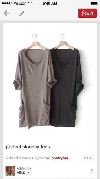 t-shirt slouchy tshirt dress oversized t-shirt baggy t shirt grey black t-shirt