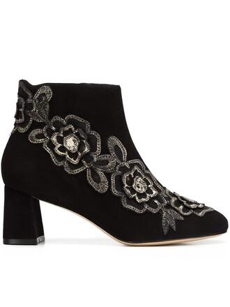 boots ankle boots floral black shoes