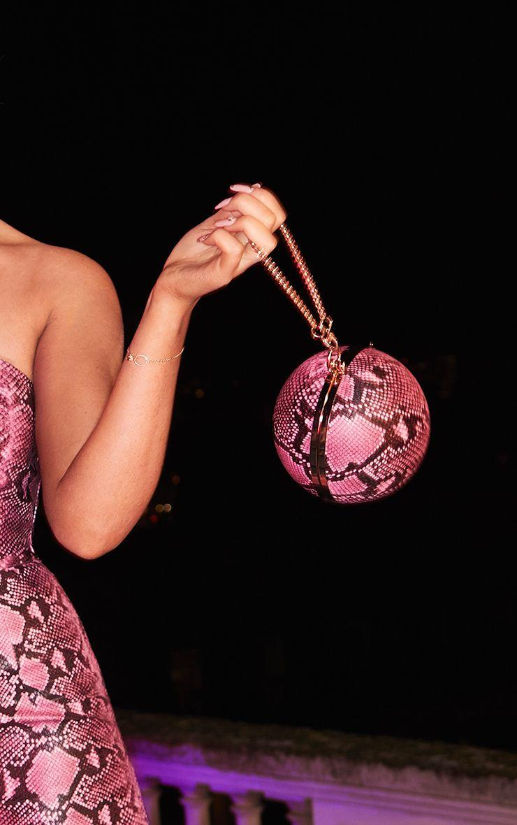 Pink Snake Sphere Mini Clutch Bag