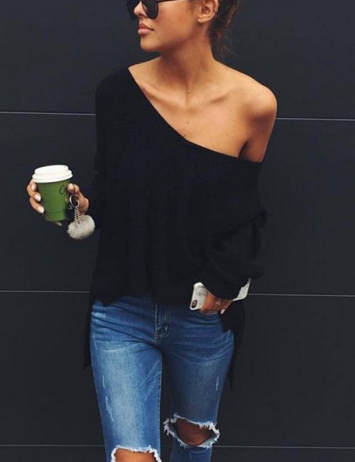Sexy Split Knitted Sweater