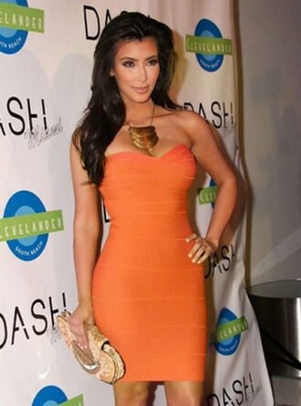 dress bqueen fashion girl orange chics sexy elegant chic clubwear bandage bandage dress strapless kim kardashian party evening dress club dress