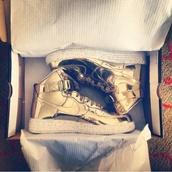 shoes,nike,metallic,gold,metalic gold