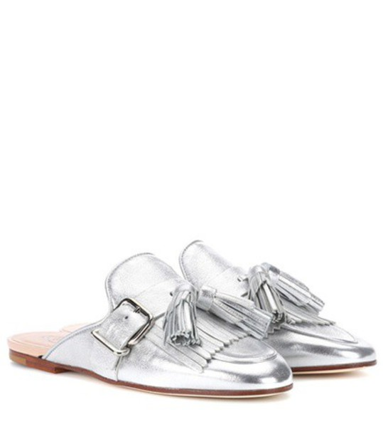 TOD'S slippers leather silver shoes