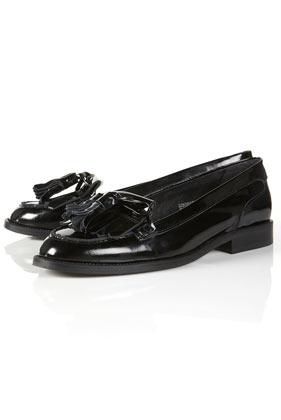 Klara black patent tassel mocassin loafers