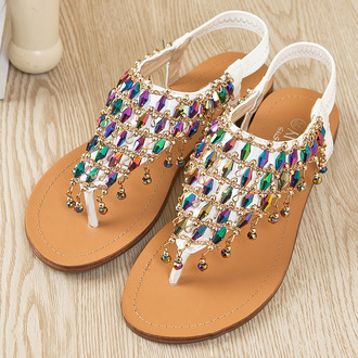 shoes shoe sandals flat white rhinestong