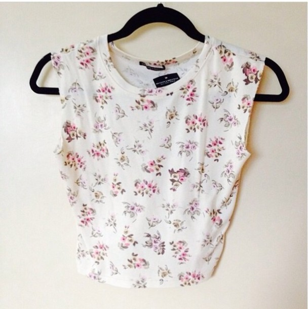 shirt floral cute summer crop tops sleeveless clothes