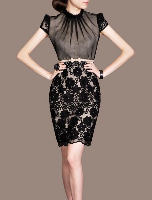 Black Lace Elegant Noble Summer OL Women Fashion Dress lml7067 - ott-123 - Global Online Shopping for Dresses