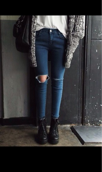 boots cardigan black boots gray cardigan warm cardigan ripped jeans skinny pants fall outfits comfy outfits