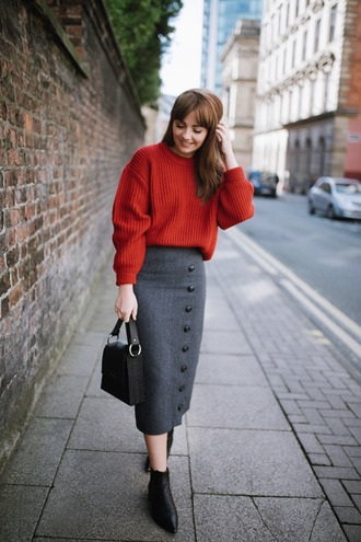 skirt tumblr midi skirt grey skirt button up button up skirt boots black boots ankle boots sweater red sweater bag black bag