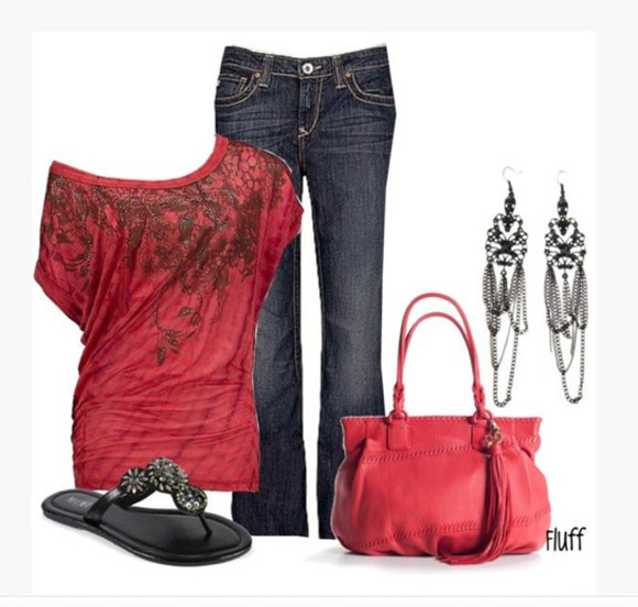 shirt salmon clothes earrings purse jeans bag off the shoulder short sleeves sandals red pattern chandelier earrings thong sandals outfit