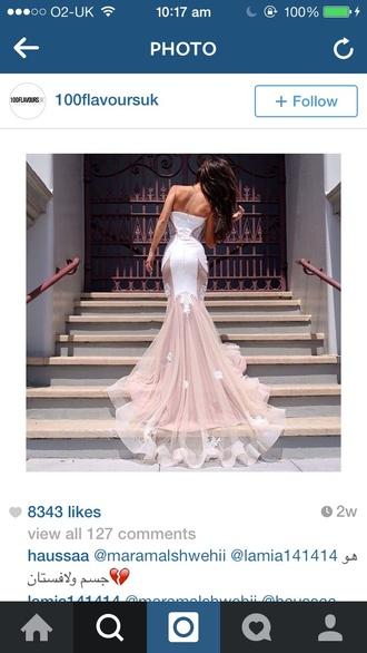 dress white dress strapless dress long dress tight dress fishtail dress prom dress evening dress mermaid prom dress mermaid
