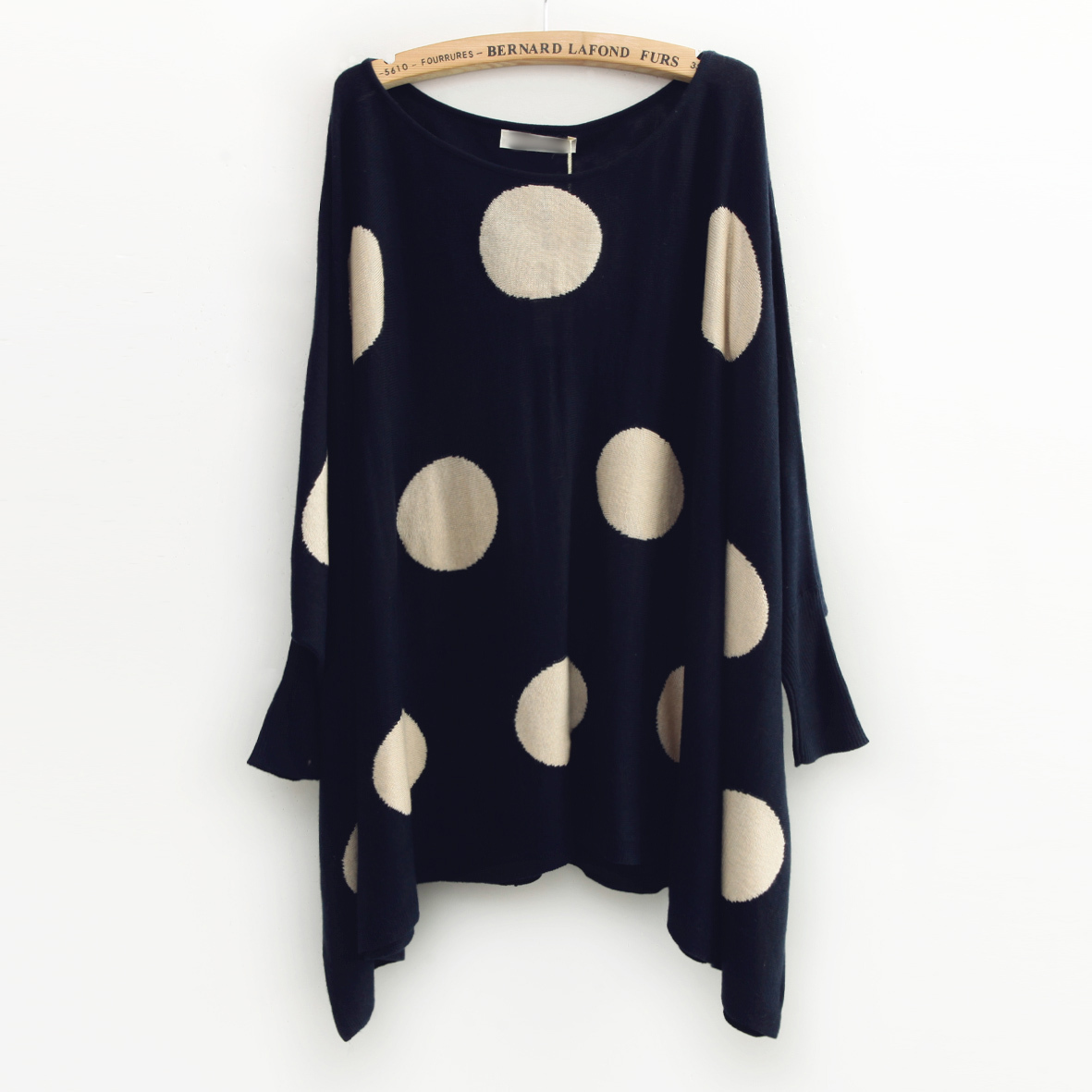 polka dotted autumn women's loose batwing sleeve pullover sweater ...