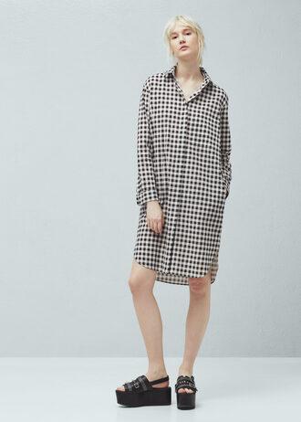 dress shirt dress plaid button up long sleeve dress