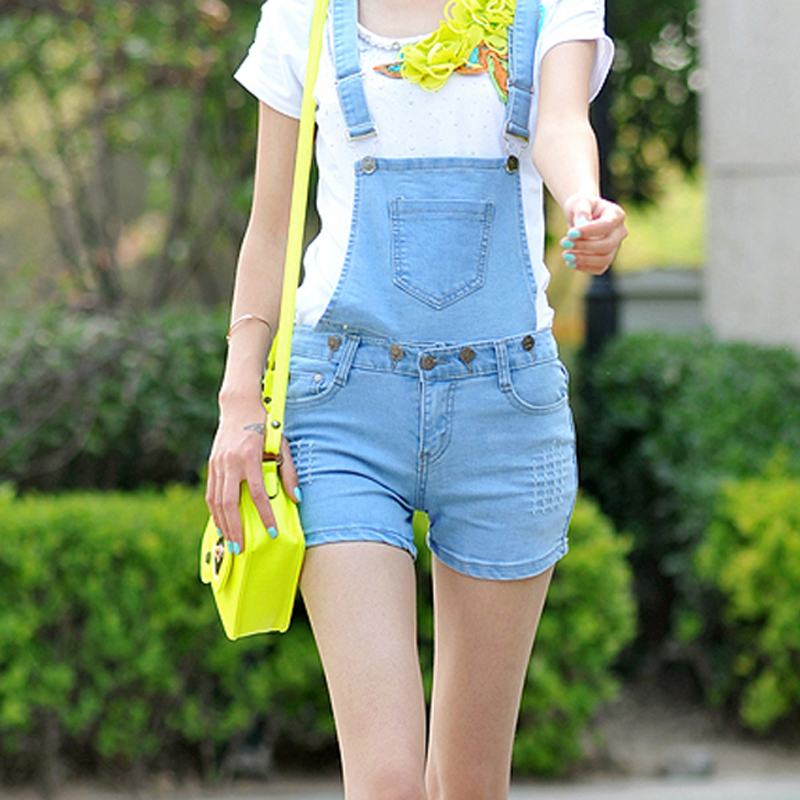 Summer bib pants female loose denim suspenders shorts plus size denim shorts one piece shorts-inJeans from Apparel & Accessories on Aliexpress.com
