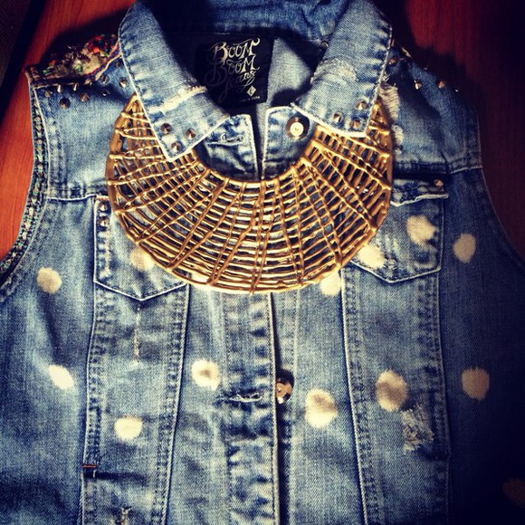 jewels oversize fashion jacket denim necklace goldnecklace jewls jewelry necklaces