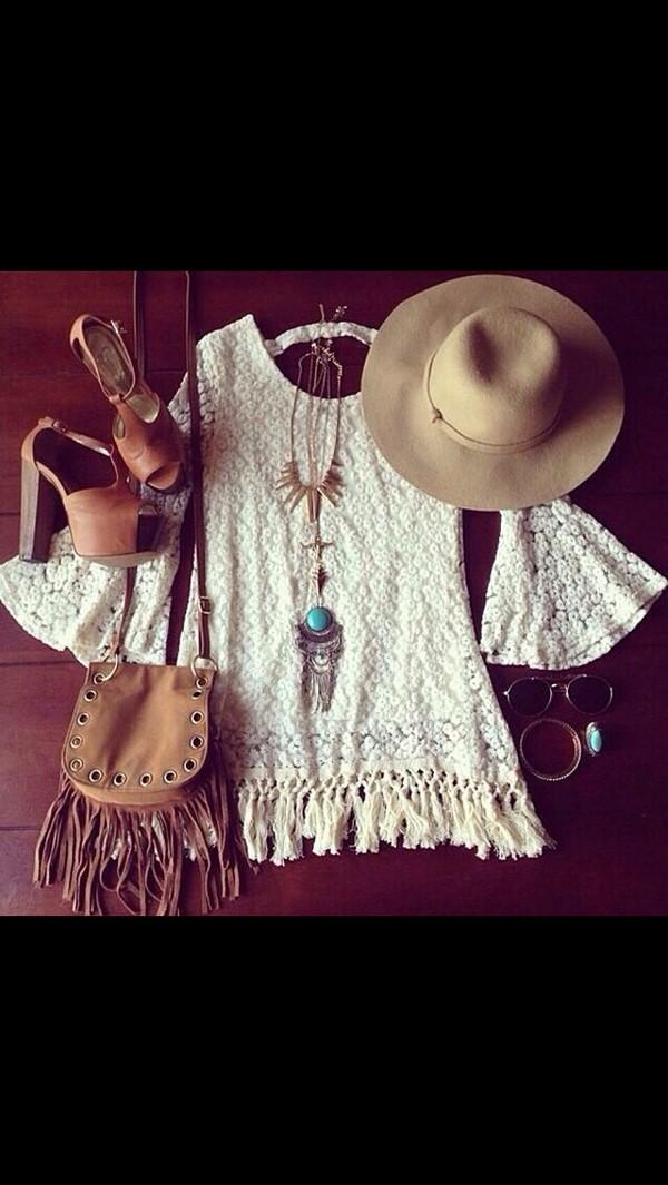 hippie coachella fringed bag crochet dress boho boho chic heels dress bohemian dress shoes gypsy high heels