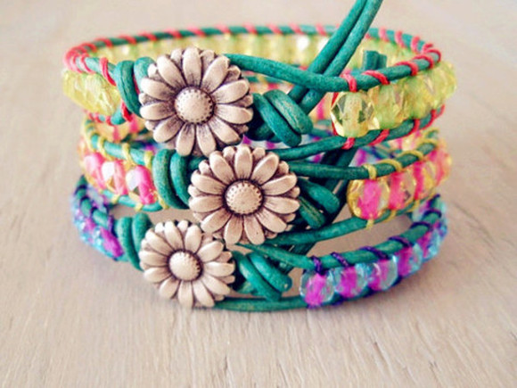 jewels braclets flowers sun pink yellow purple grass