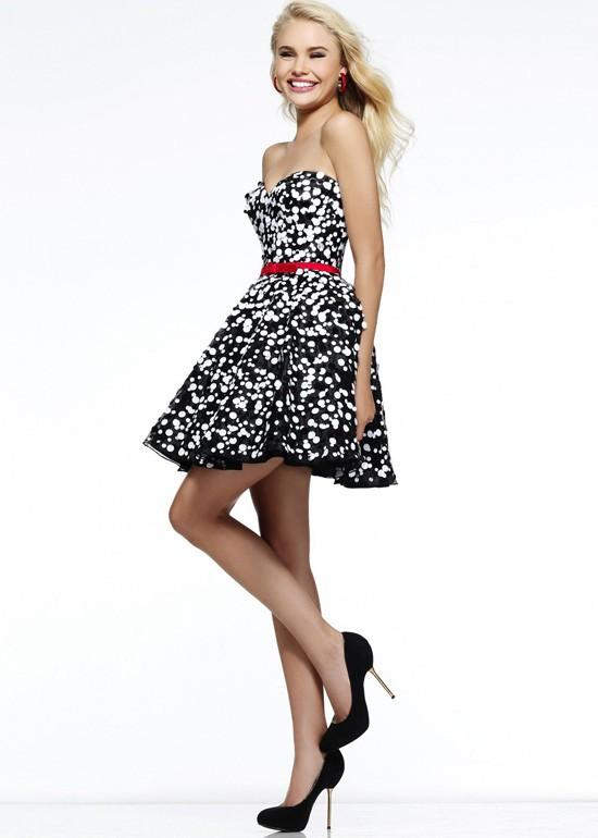 Fashion cheap black white polka dot sequin strapless short prom dress