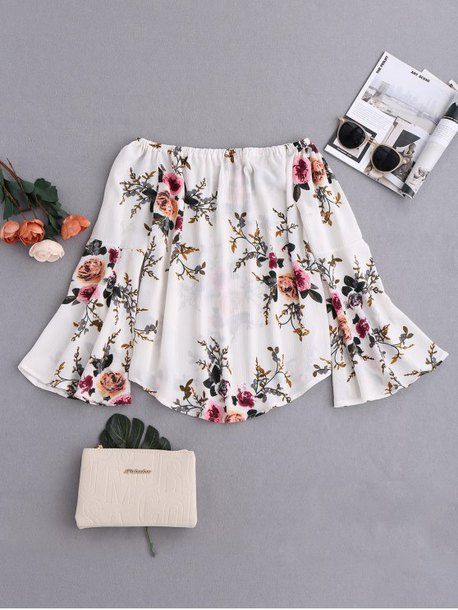top girly floral spring cute fashion style trendy summer white off the shoulder zaful