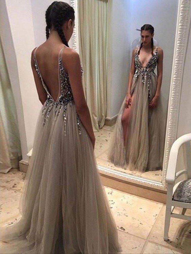 A Line Deep V Neck Open Back Sexy Prom Dress with Slit, V Neck Open Back Formal Dress