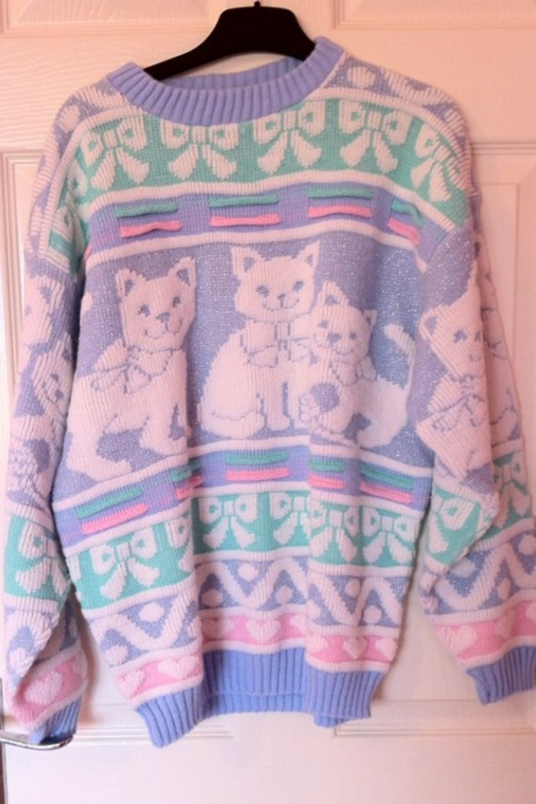 sweater cats pastel jumper cats rainbow blue purple mint bows pink cute kawaii fashion vintage pale pale clothes soft grunge grunge stylish stylish sweater shoes sweatshirt grunge pastel grunge pastel goth pastel shirt pastel dress platform shoes cats crewneck fairy kei cat sweater vintage cat pastel sweater