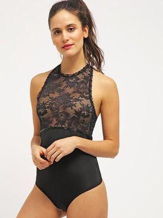 swimwear mynystyle lace sexy black trendy fashion style stylish indie lace dress girly girl girly wishlist one piece swimsuit one piece black lace