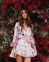 dress,mini dr,floral dress,floral,bag,belt bag,gucci bag,long sleeves,long sleeve dress,blogger,rocky barnes
