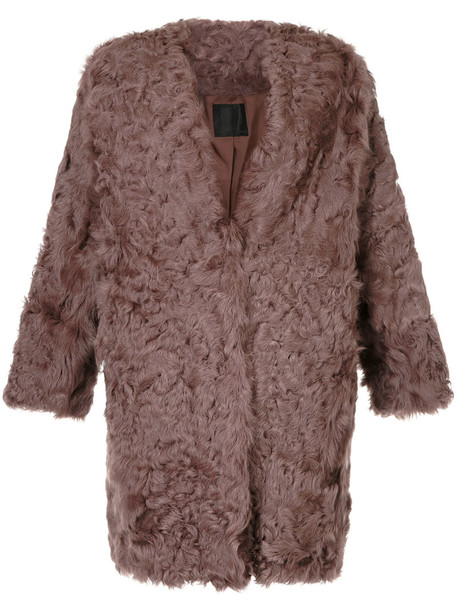 coat fur women brown