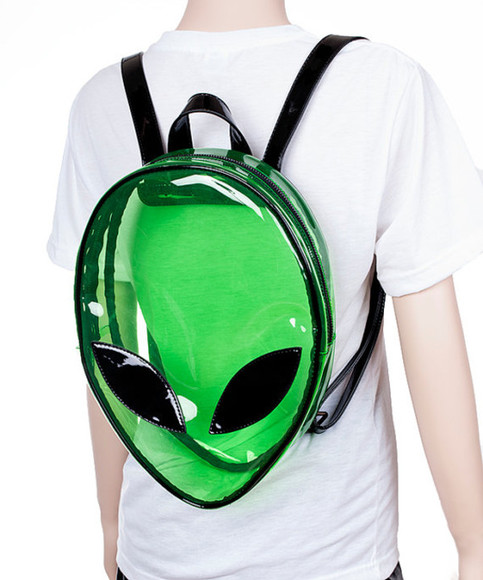 black bag see through green alien bag space bag 90s vintage weird back pack alien face cool