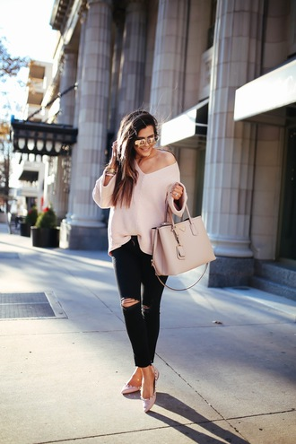 thesweetestthing blogger sweater sunglasses jewels bag pink sweater handbag pink bag black jeans winter outfits tumblr v neck prada prada bag jeans gold watch watch necklace gold necklace jewelry gold jewelry bracelets gold bracelet
