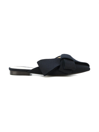 bow women mules leather black wool shoes