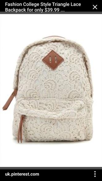 bag whitelacebackpack white lace white lace backpack
