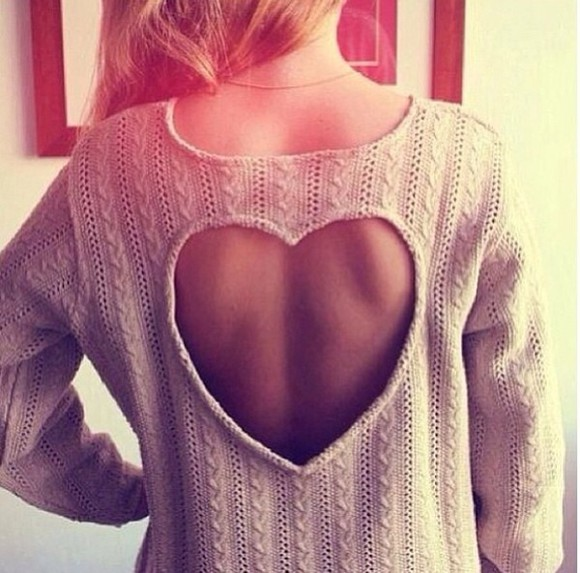 sweater pull pullover vintage heart coeur beige backless dos nu