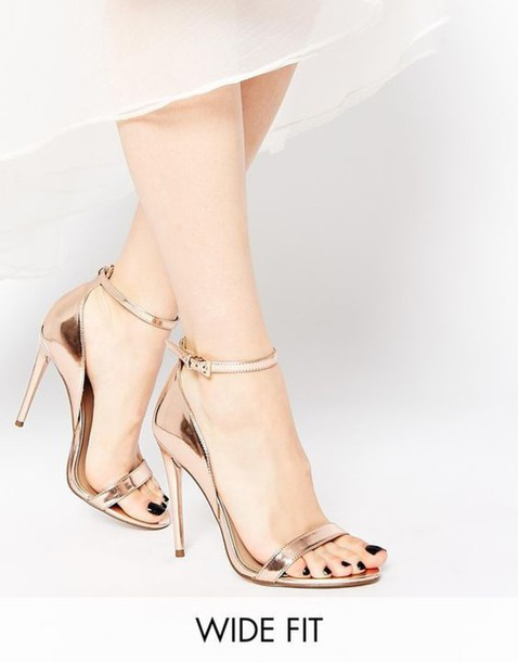gold wide fit heeled sandals \u003e Up to 68