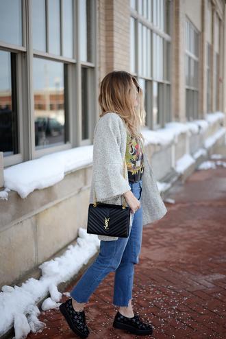 blonde bedhead blogger jacket shoes t-shirt jeans bag hat ysl bag