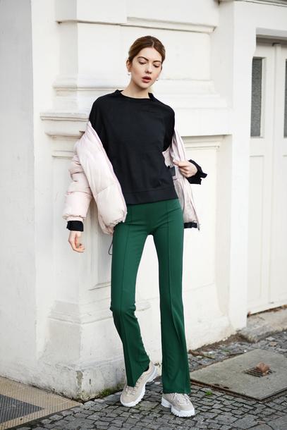 pants tumblr green pants flare pants sneakers jacket white jacket down jacket sweater black sweater