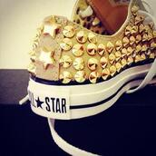 shoes,converse,spiked shoes,white sneakers,all star,gold,studded converses,cute