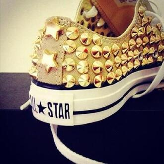 shoes converse spiked shoes white sneakers all star gold studded converses cute