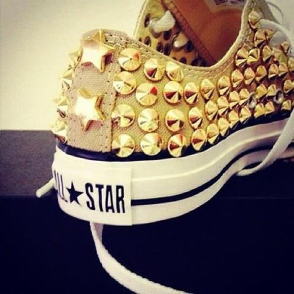 shoes converse converse all star spiked shoes white trainers all star gold