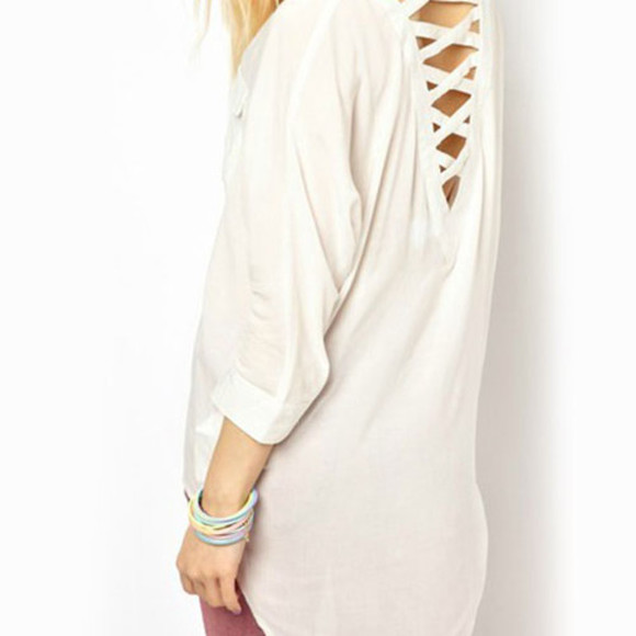 blouse high-low white