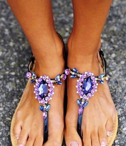 precious shoes flat sandals violet