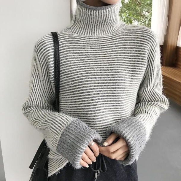sweater girly grey grey sweater fuzzy sweater sweatshirt jumper turtleneck turtleneck sweater fur