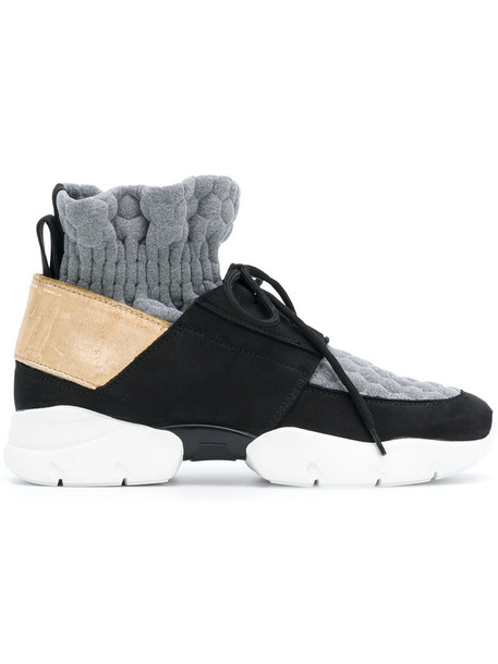 MSGM women sneakers leather black shoes