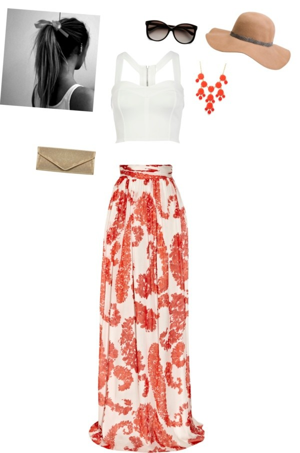 skirt maxi maxi skirt paisley summer jewels clothes shirt orange spring leaves summer outfits flowy beach beach long white spring outfits crop tops top coral skirt summer shirt blouse hat sun honeymoon tan dress orange and white skirt coral white white crop tops