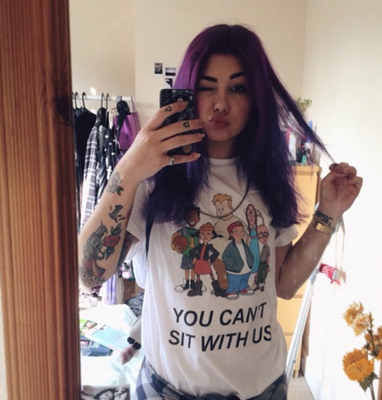 t-shirt cartoon recess you cant sit with us quote on it Plum Suicide