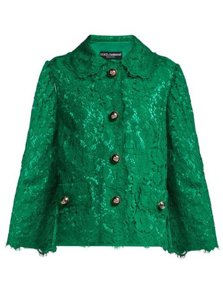 Dolce & Gabbana - Cropped Lace Jacket - Womens - Dark Green
