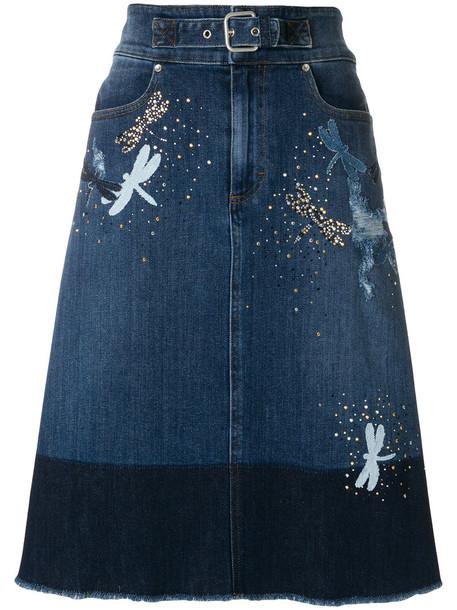 RED VALENTINO skirt denim skirt denim women spandex dragonfly cotton blue