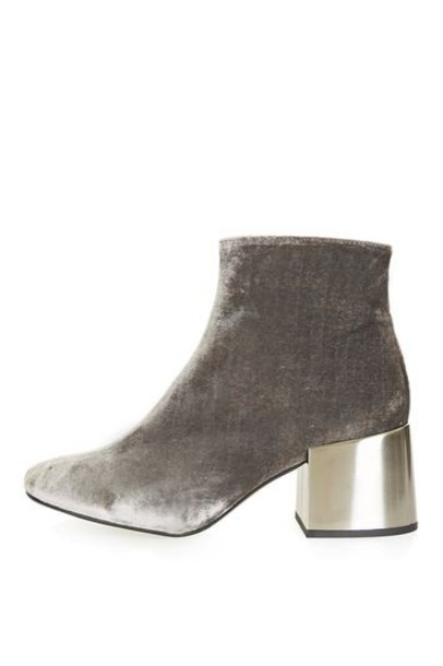 Topshop heel metal ankle boots velvet grey shoes