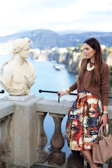 midi skirt blogger jewels irene closet necklace pearl knitted sweater bag