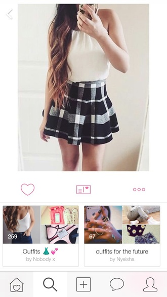 skirt patch checkered pleated black and white